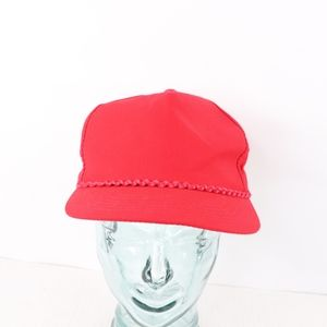 80s NOS Blank Streetwear Roped Snapback Hat Red